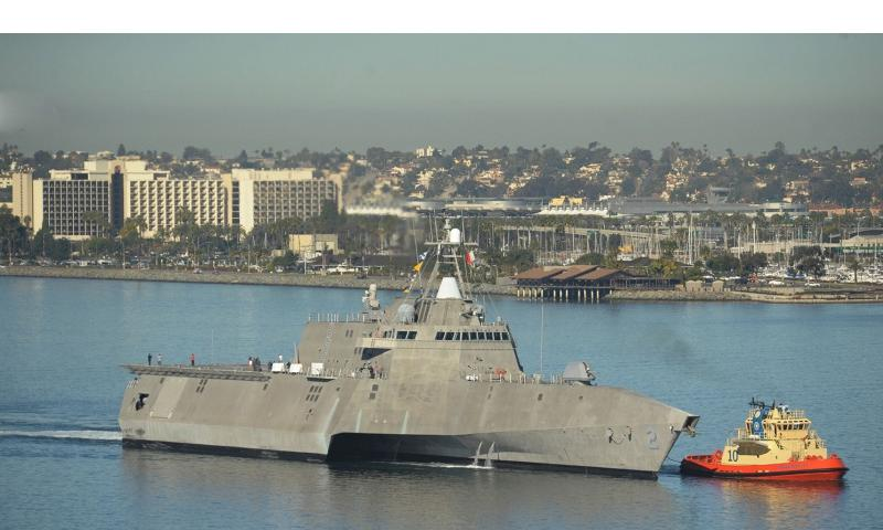 The littoral combat ship USS Independence (LCS 2) transits San Diego Bay prior to mooring at the B Street pier in downtown San Diego. The ship will be open to the public for tours for two days in order to showcase the capabilities of the littoral combat ship (LCS) program. (U.S. Navy photo by Sr. Chief Mass Communication Specialist Donnie W. Ryan)