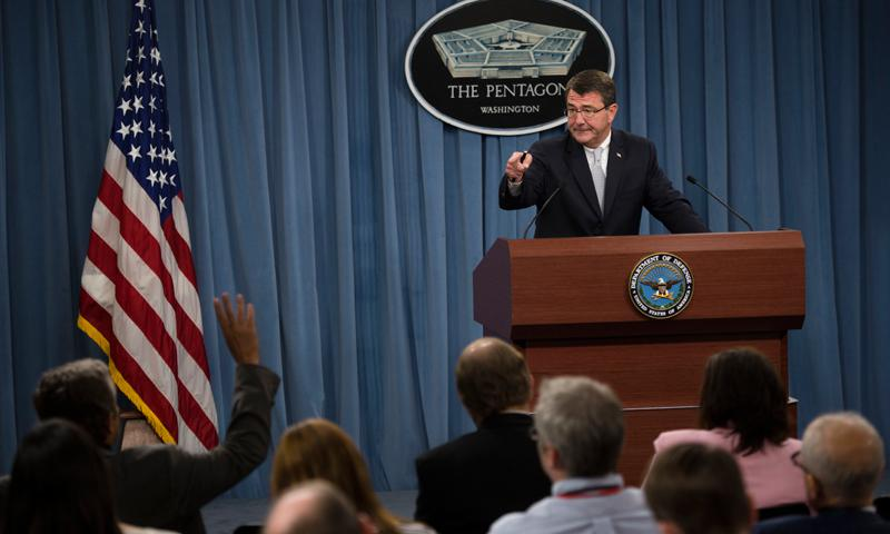 Deputy Defense Secretary Ash Carter announces security reviews at Defense Department installations during a press briefing at the Pentagon, Sept. 25, 2013. DOD photo by Erin A. Kirk-Cuomo