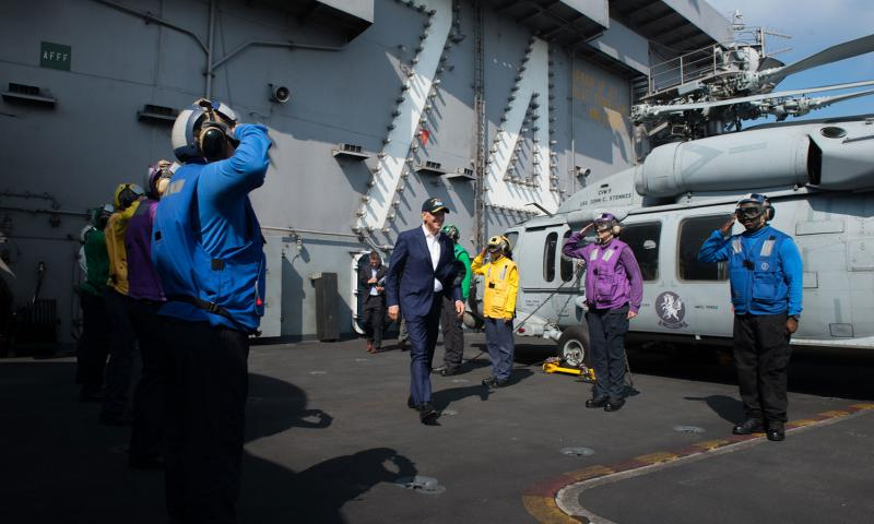 Rainbow sideboys render honors to Vice President Joe Biden following his visit to the USS John C. Stennis during the Rim of the Pacific maritime exercise on July 14, 2016.  Tomas Compian/U.S. Navy