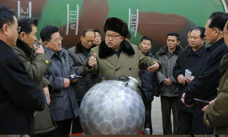 North Korean leader Kim Jong Un is seen in front of what the North claims to be a miniaturized nuclear warhead in this undated photo from the Korean Central News Agency. U.S. Deputy Secretary of State Anthony Blinken warned Tuesday that the international community would respond to any further nuclear weapons testing by North Korea.     Courtesy of KCNA