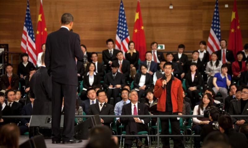 President Barack Obama listens to a question at the town hall meeting with future Chinese leaders at the Shanghai Science and Technology Museum in Shanghai, China, Nov. 16, 2009.  Lawrence Jackson/The White House