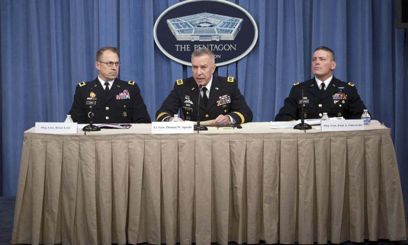Army officials talk to reporters about the results of a monthslong investigation into the inadvertent shipment of live anthrax spores to a number of laboratories in the U.S. and abroad from Dugway Proving Ground, Utah, during a Pentagon news conference, Jan. 15, 2016. Adrian Cadiz/DOD
