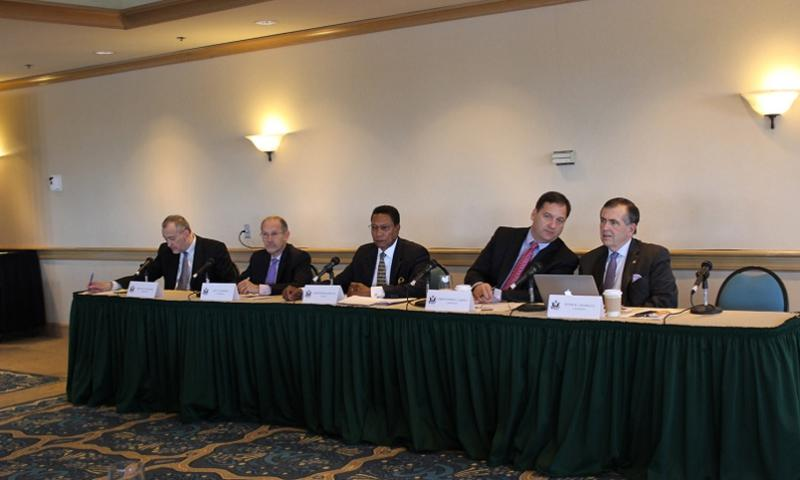Members of the Military Compensation and Retirement Modernization Commission, from left, Michael Higgins, Dov Zakheim, Alphonso Maldon Jr., Christopher Carney, Peter Chiarelli, listen as San Diego military leaders answer questions about pay and benefits in March 2014 at the Hilton San Diego Airport-Harbor Island. The commission is charged with evaluating the military compensation and benefits system and making recommendations about how best to update it.  Jennifer Hlad/Stars and Stripes