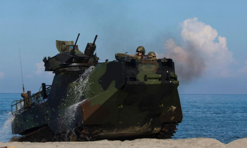 U.S. Marines with the 3rd Marines Regiment conduct a simulated beach raid and live-fire exercise during Amphibious Landing 2015 at Naval Education and Training Center, Philippines, on Oct. 9. A recent Philippine supreme court ruling grants the U.S. military access to five military airfields, two naval bases and a jungle training camp.    Robert Gonzales/U.S. Marine Corps