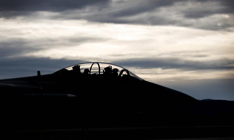 A U.S. Air Force F-15E Strike Eagle dual-role fighter aircraft assigned to the 336th Fighter Squadron, Seymour Johnson Air Force Base, N.C., prepares to take off Aug. 5, 2016, from Eielson Air Force Base, Alaska. 	 Shawn Nickel/U.S. Air Force