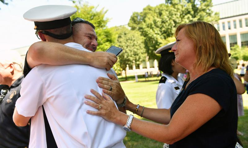 Friday, Aug. 12, 2016 was the first day of Parents Weekend, the annual reunion for new midshipmen and their parents at the end of their first weeks at the U.S. Naval Academy in Annapolis, Maryland.  U.S. Naval Academy