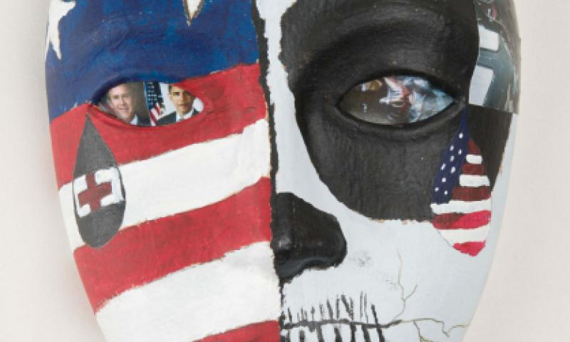 This mask was designed by an active-duty servicemember during art-therapy sessions at the National Intrepid Center of Excellence, Walter Reed National Military Medical Center. It is one work from a temporary exhibit of art-therapy masks on display at the National Museum of Health and Medicine, Silver Spring, Md., through September 2016. Matthew Breitbart/National Museum of Health and Medicine