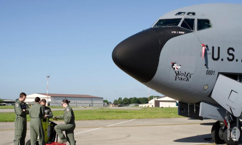 An aircrew stands beside a KC-135 Stratotanker at RAF Mildenhall, England, on June 11, 2014. On Jan 8, 2015, the Defense Department announced that it would return the base to England and move the Air Force's air refueling wing to Germany.   Adam L. Mathis/Stars and Stripes