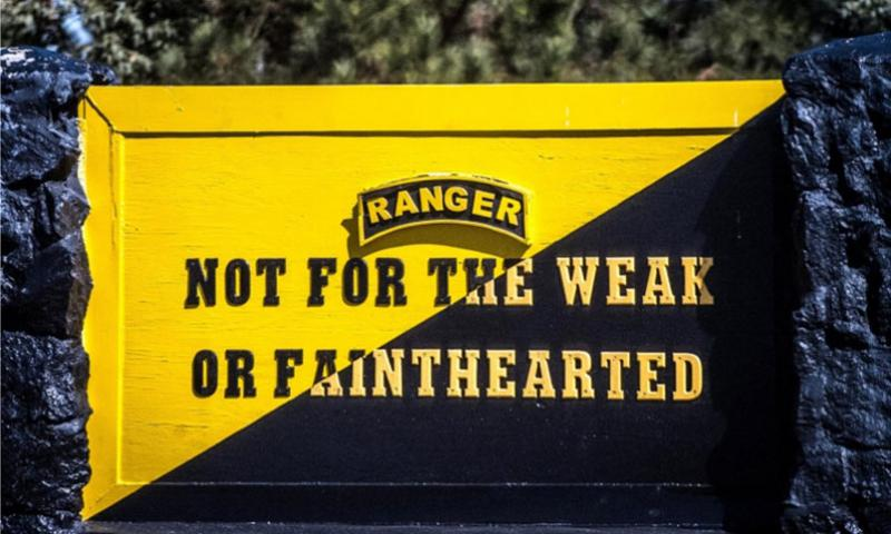A sign at the Army Ranger Training Brigade, Ranger Assessment Course at Fort Benning, Ga., is seen on Oct. 23, 2014.  Mikki L. Sprenkle/U.S. Army