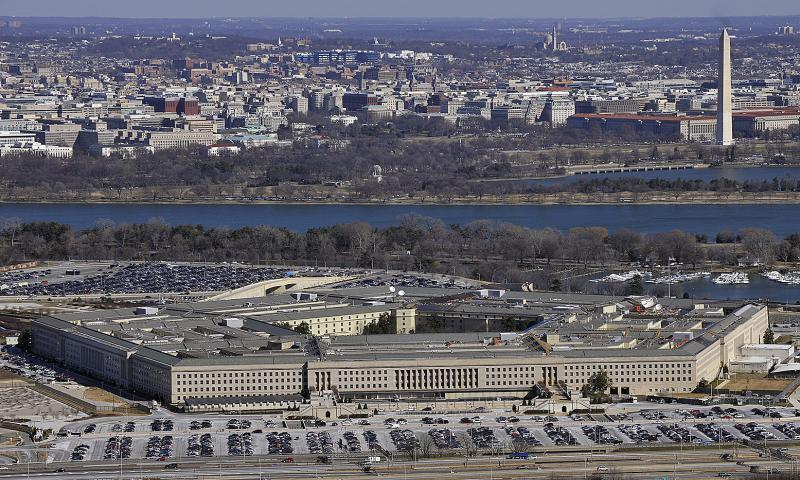 An aerial view shows the Pentagon with the Washington Monument and National Mall in the background on Feb. 13, 2012. Perry Aston/U.S. Air Force