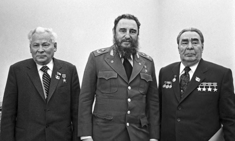 Konstantin Chernenko, left, Secretary of the Central Committee of the Communist Party of the Soviet Union (CPSU), Fidel Castro, centre, first secretary of the Communist Party of Cuba, and Leonid Brezhnev, Secretary General of the CPSU Central Committee, pose for a group photo prior to a talk in the Kremlin, Moscow, Russia, in 1981. VASILY YEGOROV-EDUARD PESOV/ITAR-TASS/ABACA PRESS/MCT