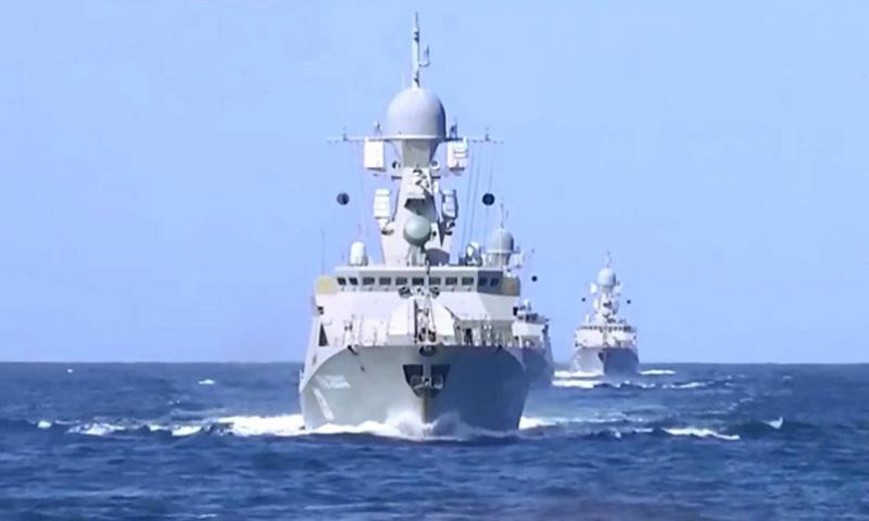 In this screen grab from video, Russian navy flotilla ships are seen in the Caspian Sea on Wednesday, Oct. 7, 2015. Russia on Wednesday said it had fired 26 cruise missiles from ships based in the Caspian into eastern Syria.  Tass/Zuma Press/TNS