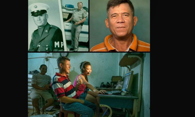 News of a DNA match between Vo Huu Nhan, upper right, and his father, Robert Thedford Jr. a retired deputy sheriff in Texas, set in motion a complex chain of events. Thedford, upper left, in Army during the 1960s. Bottom, Nhan, center, with an interpreter Skypes his his half-sister, Amanda Hazel, 35, a paralegal from Fort Worth.    Linda Davidson/Washington Post