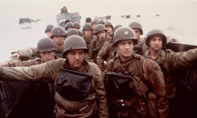 "FILE -- Tom Hanks, right, and Tom Sizemore, left, appear in a scene from the movie ""Saving Private Ryan."" The World War II movie was one of five movies nominated for Best Picture in the 71st Annual Academy Awards, announced Tuesday, Feb. 9, 1999 in Beverly Hills, Calif. David James/Dreamworks via AP"