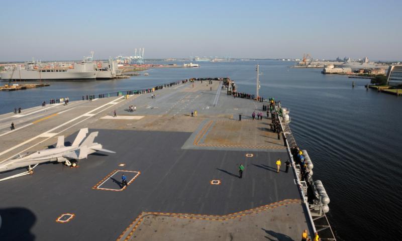 USS George H. W. Bush leaves Norfolk Naval Shipyard on July 23, 2016.  Ryan Seelbach/U.S. Navy