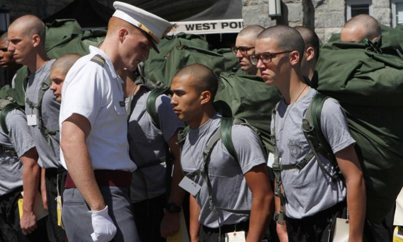 New cadets must respond quickly and appropriately to the commands of the cadre as they learn their first lessons about life as a West Point cadet. These cadets have yet to report to their company first sergeant, but afterward they'll spend plenty of time on drill and ceremony to prepare for the Oath Ceremony on the Plain to end Reception Day for the Class of 2015.  Mike Strasser/West Point