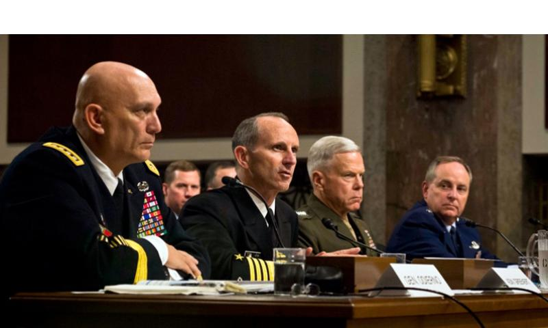 From left, Army Chief of Staff Gen. Raymond Odierno, Chief of Naval Operations Adm. Jonathan Greenert, Marine Corps Commandant Gen. James Amos and Air Force Chief of Staff Gen. Mark Welsh testify on Capitol Hill in Washington, on Thursday, Nov. 7, 2013, before the Senate Armed Services Committee on budget cuts to the military. CHIEF MASS COMMUNICATION SPECIALIST PETER D. LAWLOR/U.S. NAVY