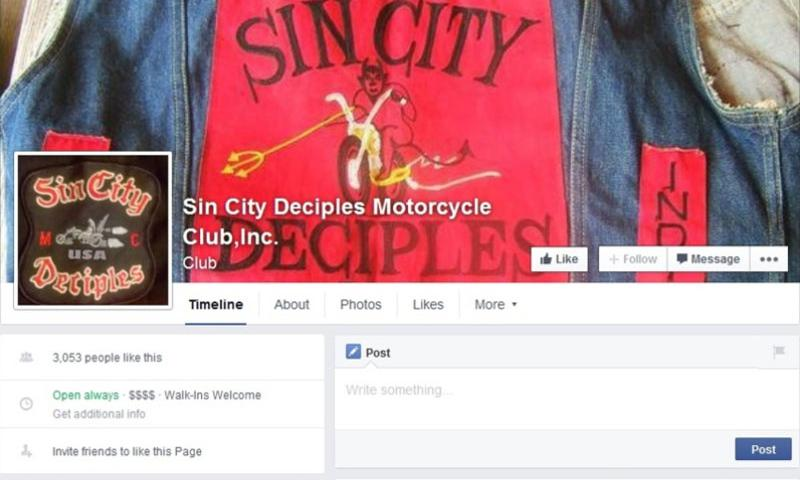 A screen grab from the Sin City Desciples Facebook page. According to a federal report, outlaw motorcycle clubs, which include the Sin City Desciples, are pushing efforts to add active-duty troops to their ranks.
