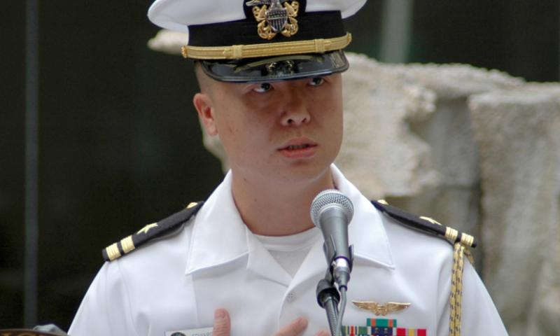 Then-Lt. Edward Lin shares his personal stories at a naturalization ceremony in 2008. U.S. NAVY