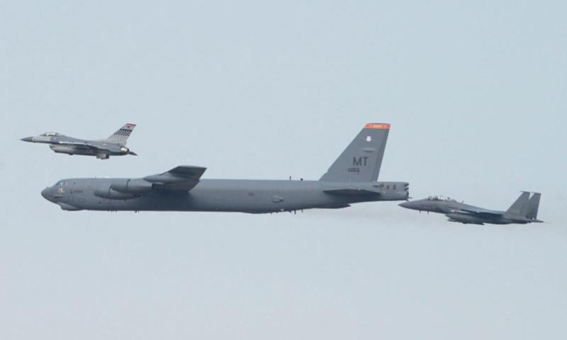 A U.S. B-52 bomber from Andersen Air Force Base, Guam, flew low over Osan, South Korea, in response to a recent nuclear test by North Korea. The B-52 was joined by Republic of Korea F-15 fighter aircraft and U.S. F-16 fighter aircraft.    Courtesy of U.S. Pacific Command