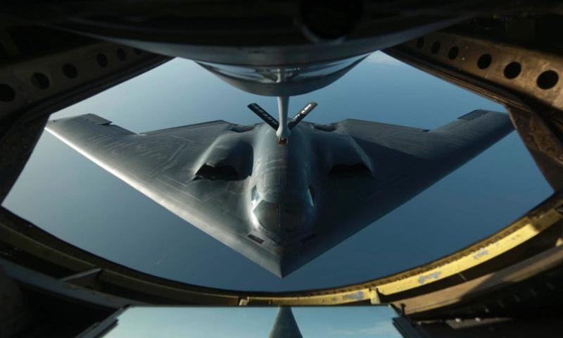 A B-2 Spirit flies into position on Wednesday, June 11, 2014, during a refueling mission over the northern Atlantic Ocean.   Paul Villanueva II/U.S. Air Force