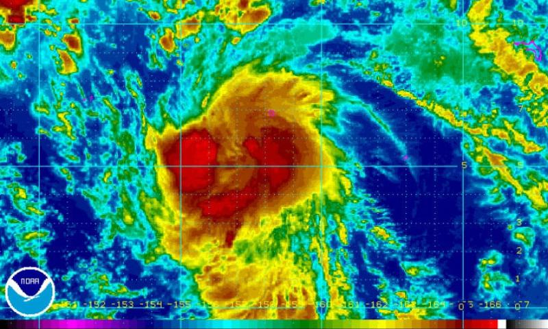 In-fa continues to intensify as it has begun curving northwest, and as the Joint Typhoon Warning Center reports that model guidance is in better agreement on a track that takes In-fa just south of Guam as the weekend begins.    NOAA.gov photo