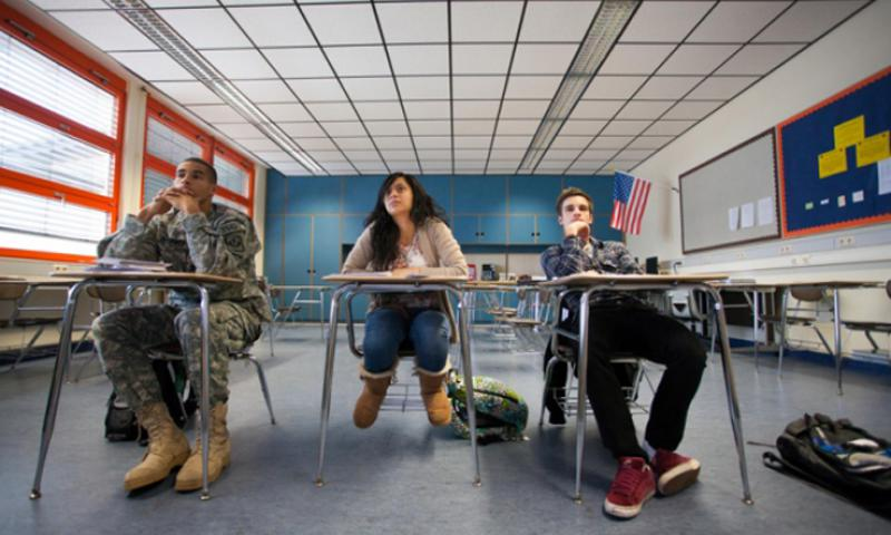 Peter Ward's Advanced Placement calculus class has three students: Ben McDaniels, Ku'u Villarin and Dominic Sparks - all 17. The class has about one-sixth the target student-to-teacher ratio sought by Department of Defense schools. Matt Millham/Stars and Stripes