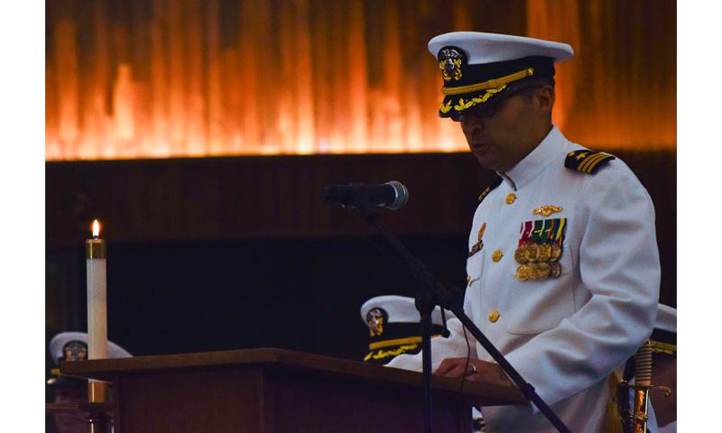 Cmdr. Steven Tarr III, commanding officer, USS Topeka (SSN 754), addresses his crew for the first time as commanding officer during the change of command ceremony. The change of command ceremony was held in the Naval Base Guam chapel.  U.S. Navy photo by Mass Communication Specialist Seaman Daniel S. Willoughby