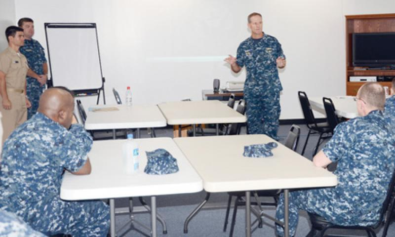 Rear Adm. Tilghman D. Payne, Commander, Joint Region Marianas, delivers opening remarks during the Sexual Assault Prevention Response Fleet (SAPR-F) training course on U.S. Naval Base Guam (NBG) Jan. 9. The SAPR-F training is the latest event in the Navy's aggressive efforts to prevent sexual assaults and promote essential culture changes within the force. U.S. Navy photo by Mass Communication Specialist 2nd Class Jeremy Starr/Released
