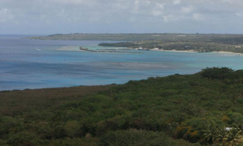 An overlook area shows the lush vegetation found on Tinian in the Commonwealth of Northern Mariana Islands near Guam. The Defense Department says it will revise an environmental study for the proposed construction of military training areas on the islands.    Pauline Franklin/U.S. Marine Corps