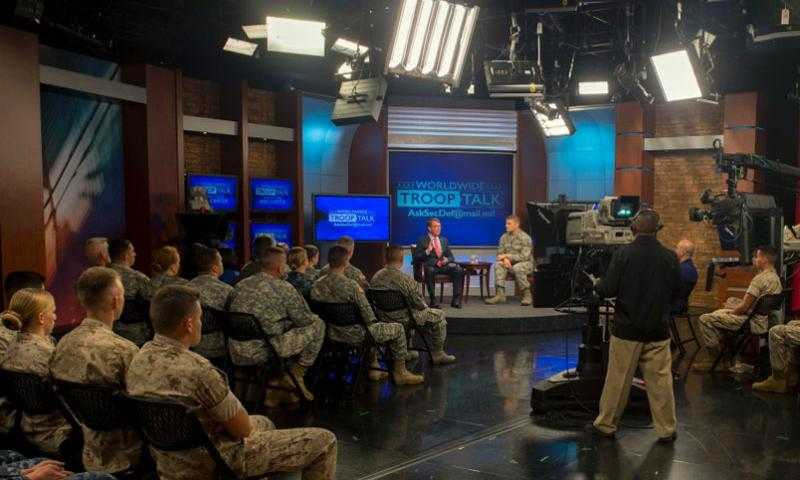 Secretary of Defense Ash Carter hosts a first Worldwide Troop Talk at the Defense Media Activity at Fort George G. Meade, Md., Sept. 1, 2015. Carter answered questions from service members around the world.     Adrian Cadiz/Department of Defense
