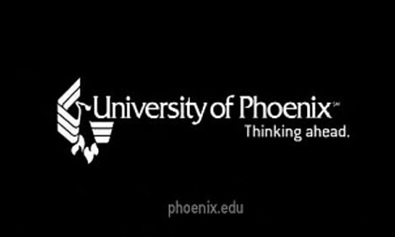 A screen grab shows a University of Phoenix logo at the end of a promotional video.  YouTube