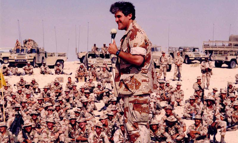 Jay Leno entertains troops during the Gulf War. Photo courtesy of USO