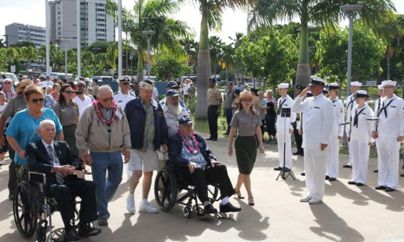 Four of the nine remaining survivors of the USS Arizona arrive at the Pearl Harbor Visitor Center in Honolulu Tuesday for a news conference. The four survivors will gather at the USS Arizona Memorial Sunday, which is the 73rd anniversity of the Dec. 7, 1941, attack on Pearl Harbor, for what they've agreed will be the last official gathering of the group. From left are John Anderson, Donald Stratton, Louis Conter and Lauren Bruner.  Wyatt Olson/Stars and Stripes