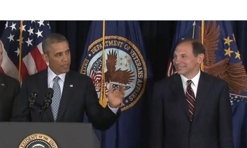President Barack Obama nominates former Procter and Gamble executive Robert McDonald as the next Veterans Affairs secretary as he makes a statement to reporters at the Department of Veterans Affairs in Washington, Monday, June 30, 2014. WHITE HOUSE VIDEO