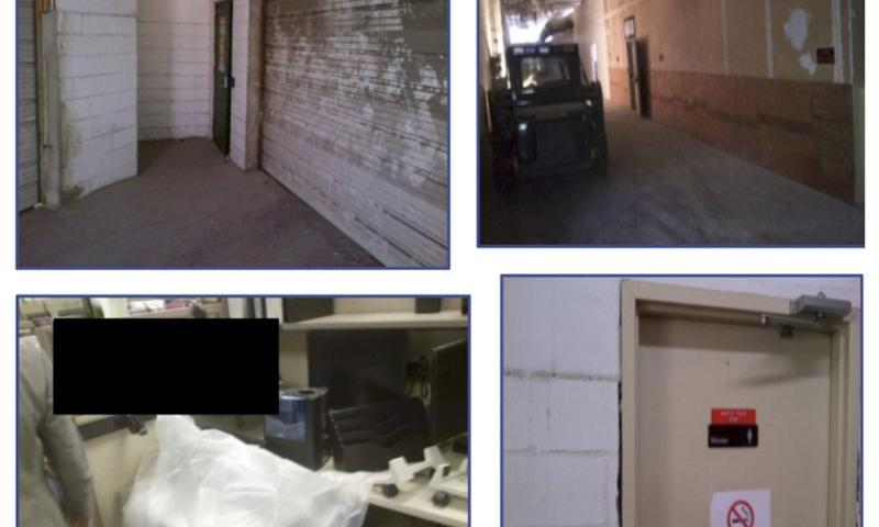 """These photos from the VA Office of Inspector General report detail the dingy conditions of the VA Regional Office space in Philadelphia. Among the IG's findings were unsecured doors and pathways that made veterans' personal information vulnerable to any passersby, and as well as temperature control issues that left employees seeing """"their breath crystallize and fingernails turn blue at their workstations.""""  VA Office of Inspector General"""