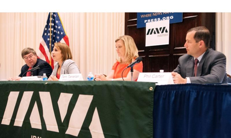 From left to right, Charlie Cook, Jackie Maffucci, Terri Tanielian, and Phillip Carter participate in a panel discussion of the IAVA survey results released during a press conference on July 14, 2014, at the National Press Club in Washington, D.C. MEREDITH TIBBETTS/STARS AND STRIPES