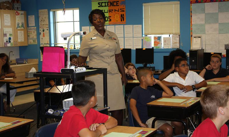 LT Sherri Garrett teaches McCool E/MS students on Guam about African American inventors. Photo courtesy of DODEA Pacific