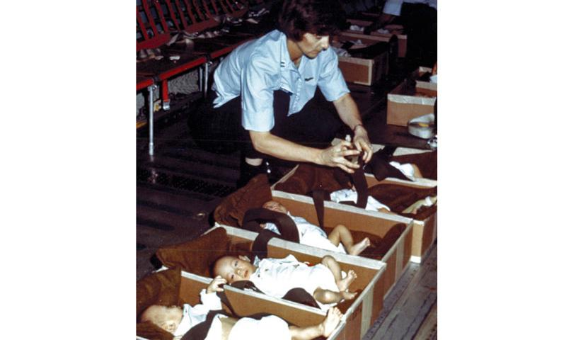 More than 3,000 Vietnamese orphans were evacuated from Saigon throughout April 1975 during Operation Babylift.  National Archives and Records Administration