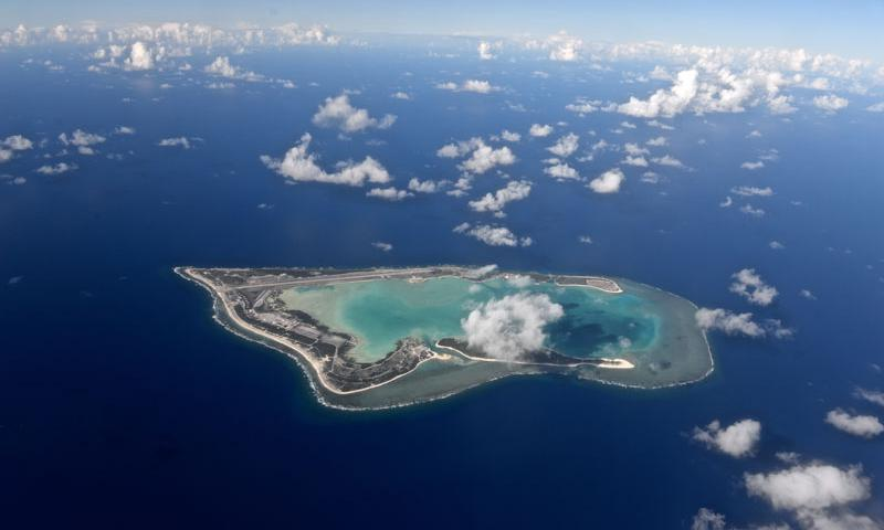 Wake Island, pictured as viewed from the north, was completely evacuated July 15, 2015, in preparation for Typhoon Halola closing in on the small atoll. A team with the 36th Contingency Response Group deployed from Andersen Air Force Base, Guam, to the atoll July 20, 2015, to assist permanently assigned airfield staff in storm recovery efforts. (U.S. Air Force photo by Senior Airman Alexander W. Riedel)