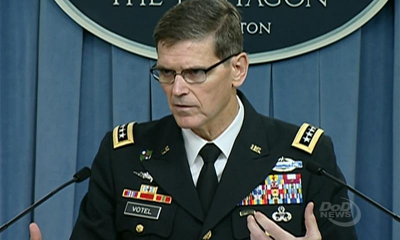 Gen. Joseph Votel answers a question during a press briefing at the Pentagon, August 30, 2016. From a DOD video