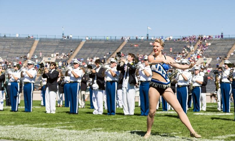 The West Point Band performed march on and a halftime show at the Army vs. Yale game in New Haven, Conn., on Sept. 27, 2014.  Chrissy Rivers/West Point Military Academy
