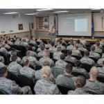 Airmen attending the Intermediate Leadership Experience at the Mathies NCO Academy on Keesler Air Force Base, Miss., receive a briefing on a military operation, Dec. 11, 2017. The Mathies NCOA provides a 25 academic day curriculum to nearly 760 students from 20 wings annually. Their mission is to educate NCOs to manage and lead innovative Airmen. (U.S. Air Force photo by Tech. Sgt. Ryan Crane)