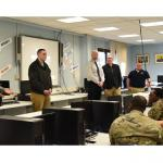 A panel of subject matter experts from around the Kaiserslautern Military Community provided information during the question and answer portion of the Hidden iN Plain Sight training at Kaiserslautern Middle School, Feb. 13. (Photo Credit: Ms. Mary Ann Davis (IMCOM))