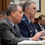 Undersecretary of Defense for Policy John C. Rood and Air Force Gen. John E. Hyten, commander of U.S. Strategic Command, testify before the House Armed Services Committee, March 7, 2018. (DoD photo by EJ Hersom)
