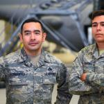 Air Force Master Sgt. Robert Formantes, 355th Component Maintenance Squadron aircraft fuels system section chief, and his son Airman 1st Class Jacob Formantes, 355th Equipment Maintenance Squadron aircraft structural maintenance apprentice, hold an on-camera interview to talk about being stationed together at Davis-Monthan Air Force Base, Ariz., Feb. 21, 2018. Robert has been in the Air Force for 17 years and Jacob will complete one year in May 2018. (Air Force photo by Airman 1st Class Giovanni Sims)