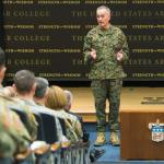 Marine Corps Gen. Joe Dunford, chairman of the Joint Chiefs of Staff, speaks to students at the U.S. Army War College, Carlisle, Pa., Dec. 7, 2017. Dunford visited the AWC to speak with students and staff.  (Photo Credit: DOD photo by U.S. Navy Petty Officer 1st Class Dominique A. Pineiro)