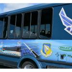 This 25 passenger crew bus is one of the vehicles powered by a hydrogen fuel cell used at Joint Base Pearl Harbor-Hickam in a demonstration of hydrogen as an alternative fuel source. (U.S. Air Force photo by J. Brian Garmon)