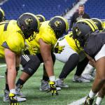 U.S. Army All-American Bowl football players practice in the Alamodome in San Antonio, Jan. 2, 2018. The U.S. Army All-American Bowl is the nation's premier high school football game, serving as the pre-eminent launching pad for America's future college and professional stars. Army photo by Sgt. Christopher Hernandez