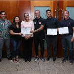 """Five coaches from Guam recently earned their AFC """"C"""" Coaching License certificate and were recognized in a presentation ceremony at the Fiesta Resort Guam hosted by Guam Football Association. In the photo are, from left to right: GFA Technical Director Belinda Wilson, GFA Coach Education Development Officer Dominic Gadia, Koharu Minato, GFA Acting General Secretary Cheri Stewart, Jason Cunliffe, Ian Mariano, Phillip Santomauro, and Jorge Hellu. Photo by Jesse Mesa/GFA."""